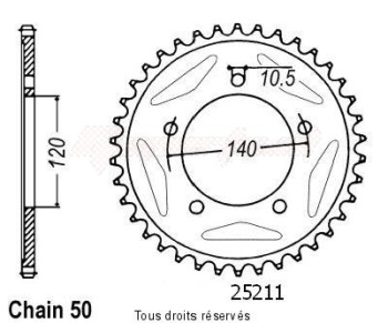 Product image: Sifam - 25211CZ43 - Chain wheel rear Gsf 1250 Bandit 07   Type 530/Z43