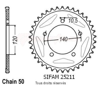 Product image: Sifam - 25211CZ46 - Chain wheel rear Triumph 955 Tiger 05-   Type 530/Z46
