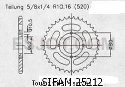 Product image: Sifam - 25212CZ53 - Chain wheel rear Sachs 125 Roadstar V2   Type 520/Z53