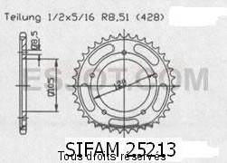 Product image: Sifam - 25213CZ62 - Chain wheel rear Sachs 125 Zx 99-00   Type 428/Z62