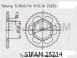 Product image: Sifam - 25214CZ41 - Chain wheel rear Sachs 650 Roadster 00   Type 525/Z41