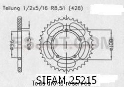 Product image: Sifam - 25215CZ49 - Chain wheel rear Mz 125 Super Motard 0   Type 428/Z49