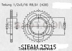 Product image: Sifam - 25215CZ52 - Chain wheel rear Mz 125 Enduro 01-02   Type 428/Z52