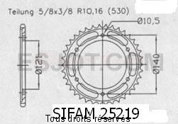 Product image: Sifam - 25219CZ40 - Chain wheel rear Cagiva 1000 Raptor 00   Type 530/Z40