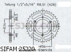 Product image: Sifam - 25220CZ28 - Chain wheel Quad 50 Aeon Cobra 00-   Type 428/Z28