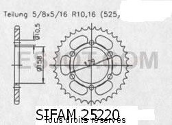 Product image: Sifam - 25220CZ45 - Chain wheel rear Aprilia 1000 Etv 01-0   Type 525/Z45