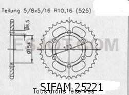 Product image: Sifam - 25221CZ43 - Chain wheel rear Aprilia 1000 Rst 01-0   Type 525/Z43