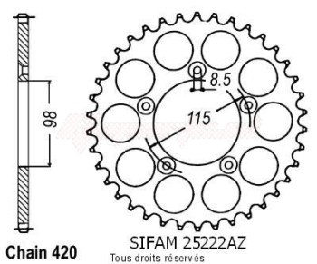 Product image: Sifam - 25222AZ46 - Chain wheel rear KTM Sx60/65 98-02 Type 420/Z46