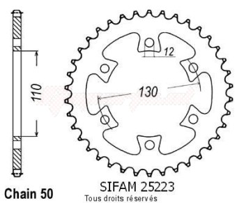 Product image: Sifam - 25223CZ36 - Chain wheel Bombardier 650 Ds 00-04   Type 530/Z36
