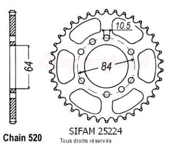 Product image: Sifam - 25224CZ40 - Chain wheel rear Quad 400 Kfx/Ltz   Type 520/Z40