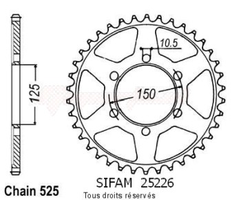 Product image: Sifam - 25226CZ45 - Chain wheel KTM 950 Super Enduro 06-   Type 525/Z45