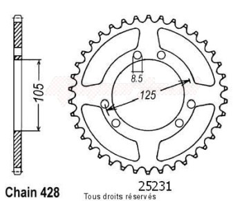 Product image: Sifam - 25231CZ50 - Chain wheel rear Xt 125 R 04-   Type 428/Z50