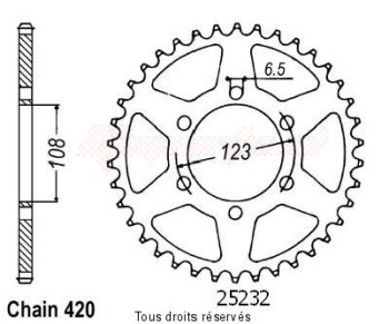 Product image: Sifam - 25232CZ52 - Chain wheel rear Peugeot 50 Xr6 year 01-03 Type 420/Z52
