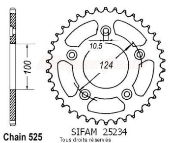 Product image: Sifam - 25234CZ39 - Chain wheel rear Ducati 749 R/S 03-   Type 525/Z39