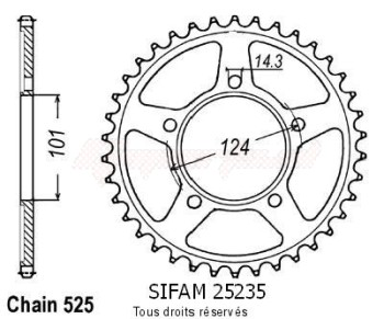 Product image: Sifam - 25235CZ38 - Chain wheel rear KTM 990 Duke   Type 525/Z38