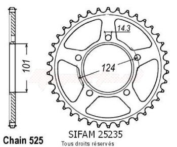 Product image: Sifam - 25235CZ41 - Chain wheel rear KTM 950 Supermoto   Type 525/Z41