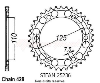 Product image: Sifam - 25236CZ46 - Chain wheel rear Gilera 125 Cougar   Type 428/Z46