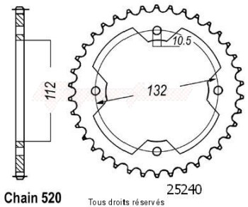 Product image: Sifam - 25240CZ38 - Chain wheel rear Kxr 250 03-04   Type 520/Z38