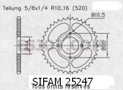 Product image: Sifam - 25247CZ28 - Chain wheel rear Eton 50/100 Draco   Type 520/Z28