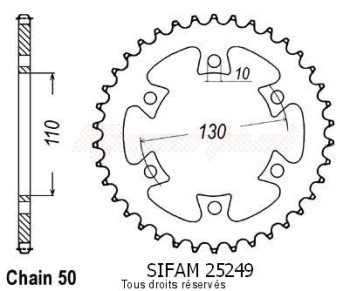 Product image: Sifam - 25249CZ36 - Chain wheel rear Bombardier Ds650 04-   Type 530/Z36