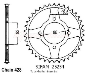 Product image: Sifam - 25254CZ49 - Chain wheel rear Tt-r 125  Pts Wheels   Type 428/Z49