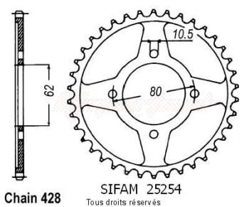 Product image: Sifam - 25254CZ54 - Chain wheel rear Tt-r 125 Gds Wheels   Type 428/Z54
