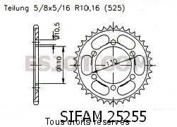Product image: Sifam - 25255CZ43 - Chain wheel rear Gsx-r 600 '11-   Type 525/Z43