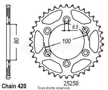 Product image: Sifam - 25258CZ52 - Chain wheel rear Rieju 50 Spike 06-   Type 420/Z52