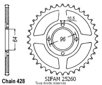 Product image: Sifam - 25260CZ45 - Chain wheel rear Cg 125 E 04-   Type 428/Z45