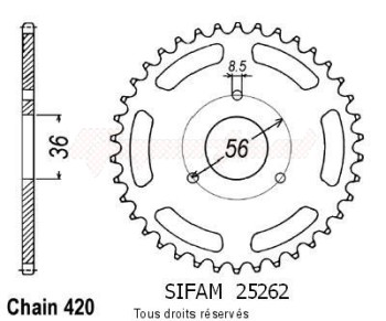 Product image: Sifam - 25262CZ28 - Chain wheel rear Suzuki Jr 50 85-06   Type 420/Z28