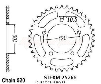 Product image: Sifam - 25266CZ40 - Chain wheel rear Aprilia 125 Rs 06-   Type 520/Z40