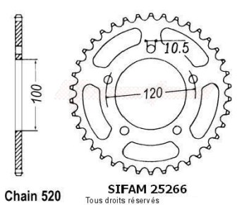 Product image: Sifam - 25266CZ44 - Chain wheel rear Aprilia Pegasso 660   Type 520/Z44