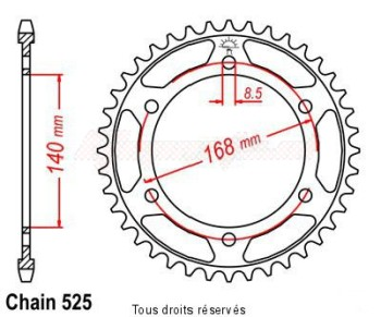Product image: Sifam - 25274CZ42 - Chain wheel rear Bmw F 800 Gs 08- mounting holes Fixation Ø 8.5mm Type 525/Z42