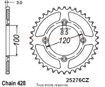 Product image: Sifam - 25276CZ52 - Chain wheel rear Beta 50 Rr 05-08 Type 428 4 mounting holes Type 428/Z52