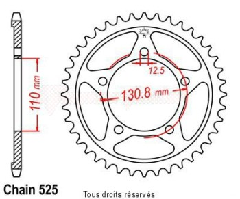 Product image: Sifam - 25280CZ44 - Chain wheel rear BMW S1000 RR   Type 525/Z44