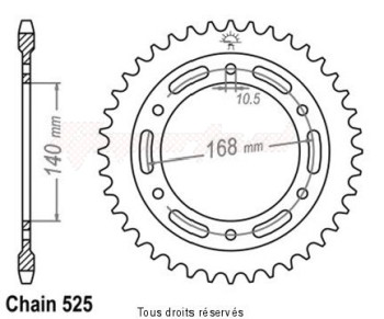Product image: Esjot - 25284CZ47 - Chain wheel rear F 800 R mounting holes Fixation Ø 10.5mm Type 525/Z47