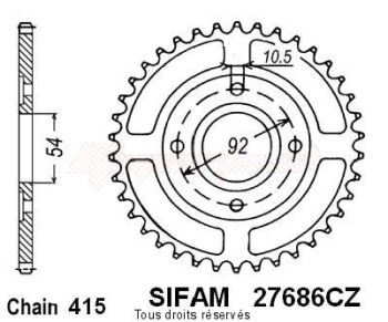 Product image: Sifam - 27686CZ46 - Chain wheel rear Yam Tzr50 / Power 98   Type 415/Z46