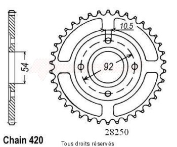 Product image: Sifam - 28250CZ46 - Chain wheel rear Tzr50 / Power50 97-   Type 420/Z46
