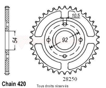 Product image: Sifam - 28250CZ47 - Chain wheel rear Tzr50 / 50power 04-   Type 420/Z47