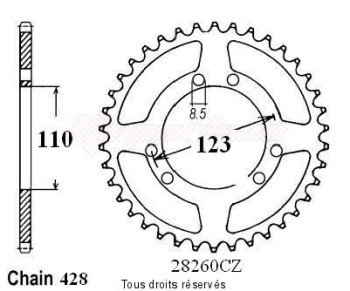 Product image: Sifam - 28260CZ56 - Chain wheel rear Hrd 50 Type 428   Type 428/Z56