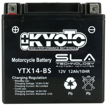Product image: Kyoto - 512140 - Battery  YTX14-BS SLA-AGM - Without Acid. Ready to Use