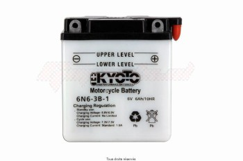 Product image: Kyoto - 706063 - Battery 6n6-3b-1 L 99mm  W 57mm  H 107mm 6v 6ah Acid 0,27l