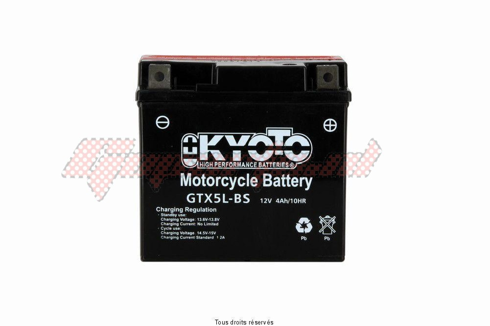 Product image: Kyoto - 712050 - Battery Ytx5l-bs - Ss Entr. Acid L 114mm  W 71mm  H 106mm 12v 4ah Acid 0,27l  1