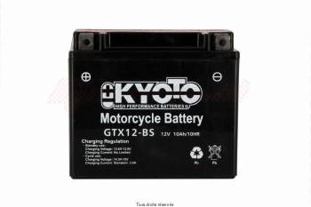 Product image: Kyoto - 712120 - Battery Ytx12-bs - Ss Ent. Acid L 150mm  W 87mm  H 131mm 12v 10ah Acid 0,6l