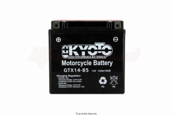 Product image: Kyoto - 712140 - Battery Ytx14-bs - Ss Entr. Aci L 150mm  W 87mm  H 147mm 12v 12ah Acid 0,69l