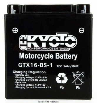 Product image: Kyoto - 712166 - Battery Ytx16-bs-1- Ss Entr. Acid L 150mm  W 87mm  H 161mm 12v 14ah Acid 0,81l