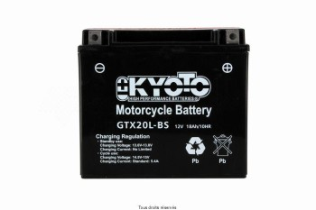 Product image: Kyoto - 712340 - Battery Ytx20l-bs - Ss Entr. Acid L 175mm  W  87mm  H 155mm 12v 18ah Acid 0,93l