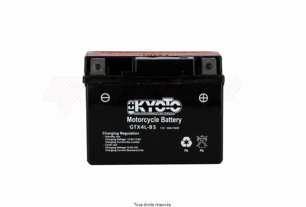 Product image: Kyoto - 713045 - Battery Ytx4l-bs - Ss Entr. Acid L 114mm  W 71mm  H 86mm 12v 3ah Acid 0,18l  1