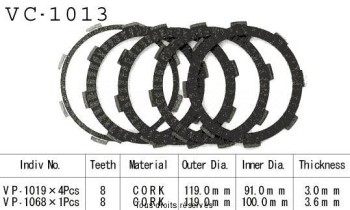 Product image: Kyoto - VC1013 - Clutch Plate kit complete Ca 125 Rebel 95-00