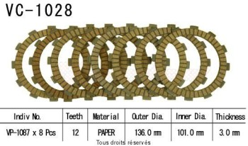 Product image: Kyoto - VC1028 - Clutch Plate kit complete  Cross Cr125 R 00 02